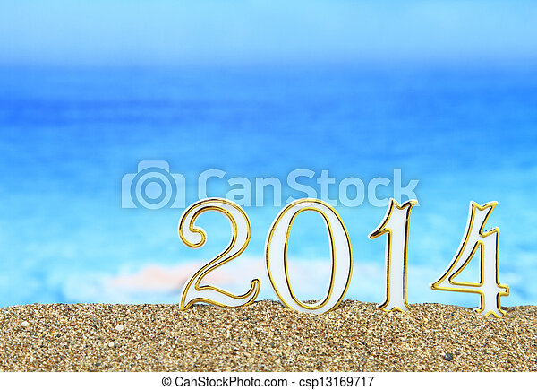 New year 2014 on the beach - csp13169717