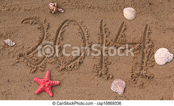 New year 2014 on the beach - csp16869336