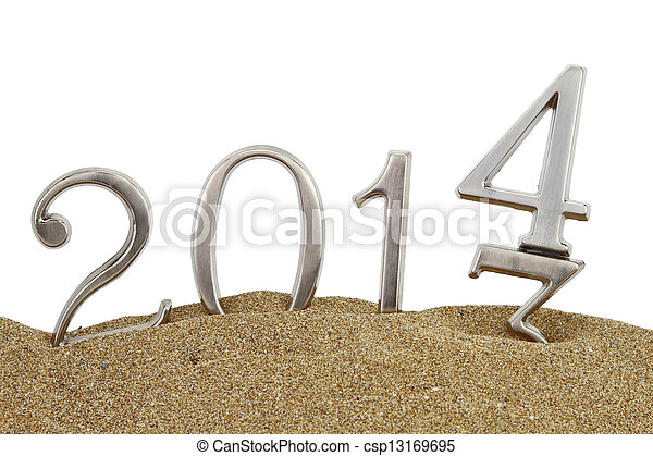 New year 2014 on the sand - csp13169695