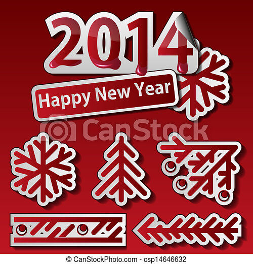 New Year 2014 Symbols Set Vectors Search Clip Art Illustration