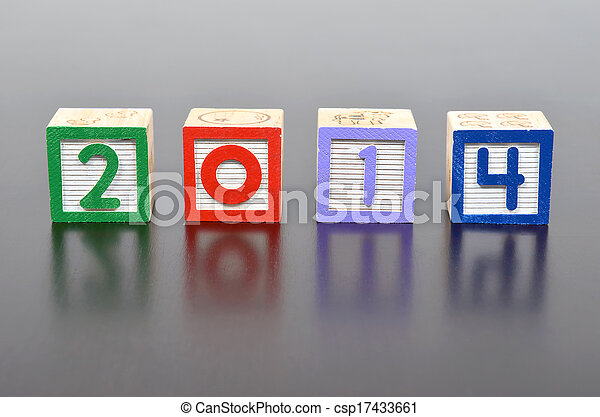 New Year 2014 word formed by wood alphabet blocks - csp17433661
