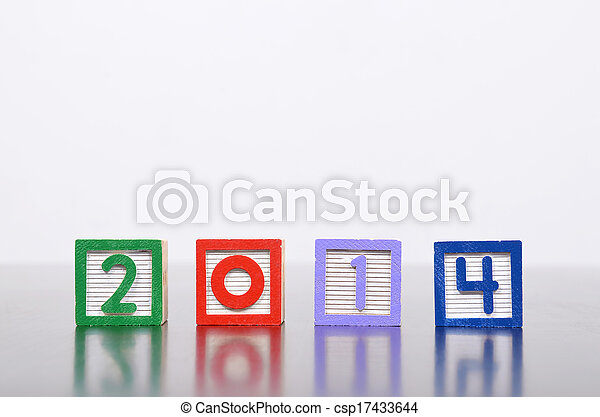 New Year 2014 word formed by wood alphabet blocks - csp17433644