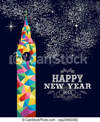 New year 2015 England poster design - csp23940392