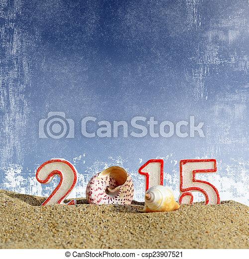 New year 2015 sign on a beach sand - csp23907521