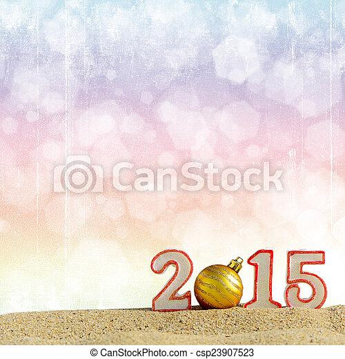 New year 2015 sign on a beach sand - csp23907523