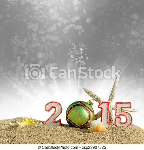 New year 2015 sign on a beach sand - csp23907525