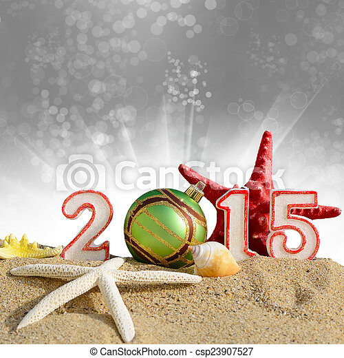 New year 2015 sign on a beach sand - csp23907527