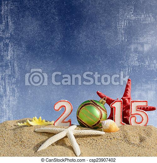 New year 2015 sign on a beach sand - csp23907402