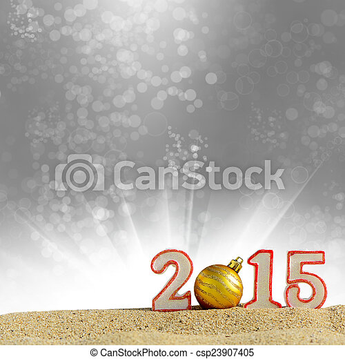 New year 2015 sign on a beach sand - csp23907405