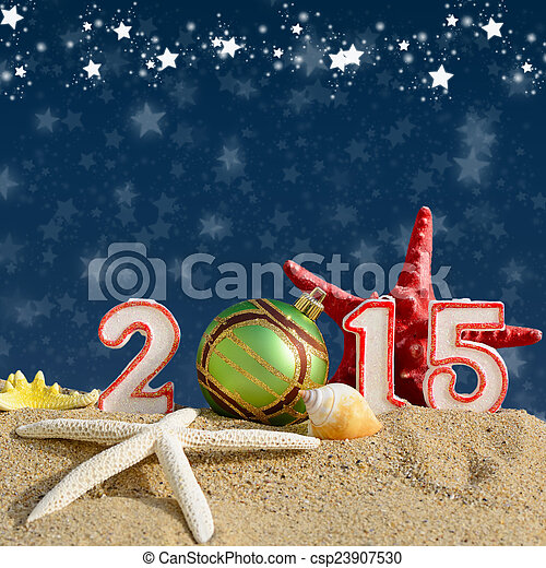 New year 2015 sign on a beach sand - csp23907530