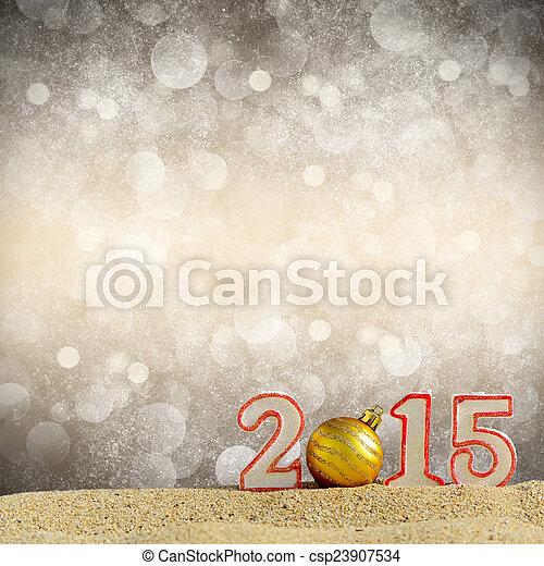 New year 2015 sign on a beach sand - csp23907534