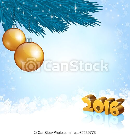 New Year 2016 and X-mas decoration - csp32289778