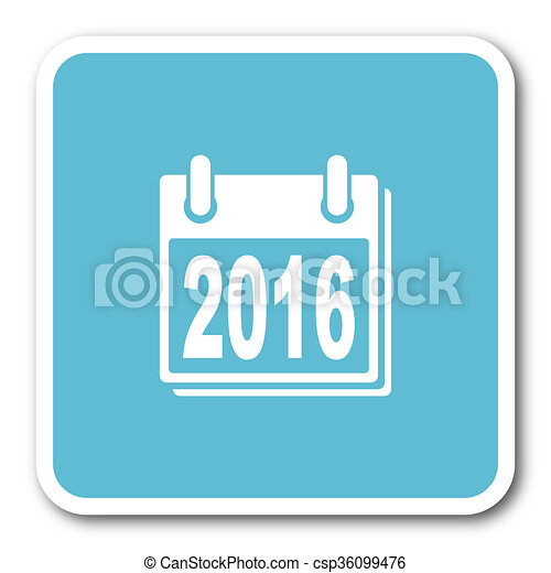 new year 2016 blue square internet flat design icon - csp36099476