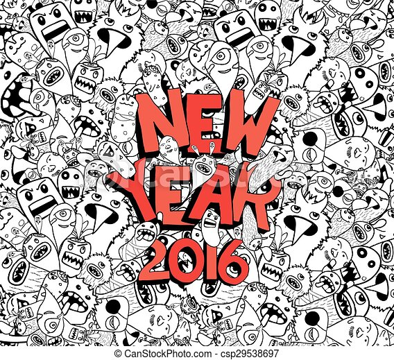 new year 2016 doodle hipster csp29538697