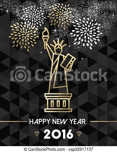 new year 2016 nyc usa travel statue liberty gold csp32917137