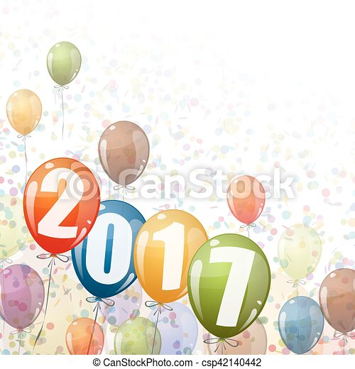 New Year 2017 balloons - csp42140442