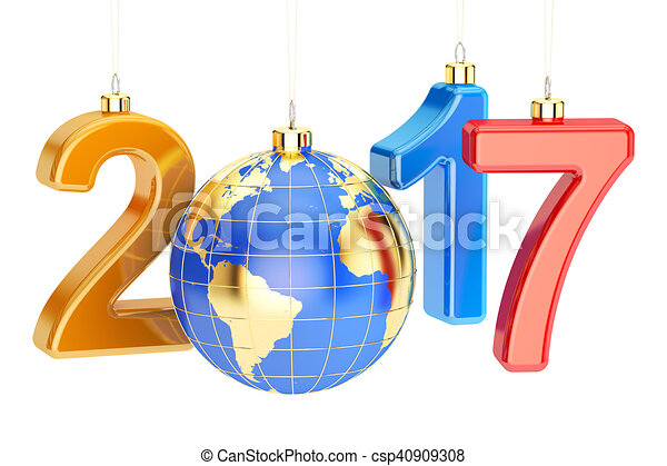 New Year 2017 concept, 3D rendering on white - csp40909308