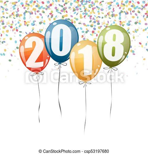 New Year 2018 balloons - csp53197680