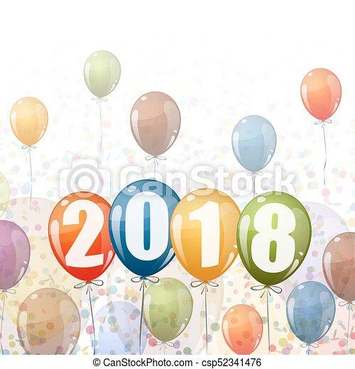 New Year 2018 balloons - csp52341476