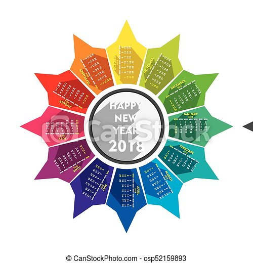 new year 2018 calendar design csp52159893
