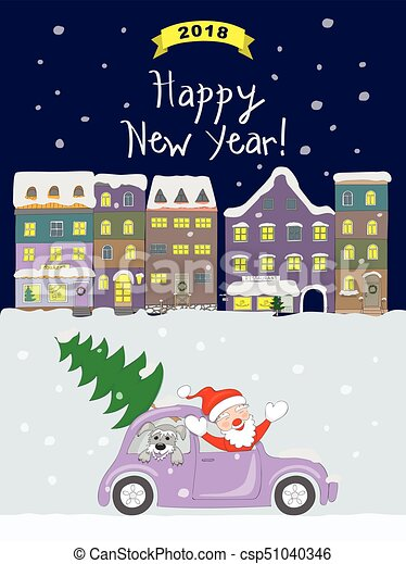 new year 2018 card with coming santa to night old city csp51040346