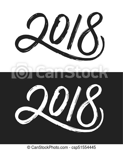 New Year 2018 Greeting Card In Black And White