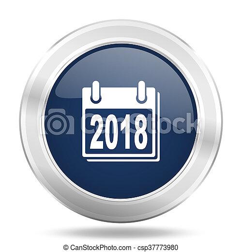 new year 2018 icon, dark blue round metallic internet button, web and mobile app illustration - csp37773980