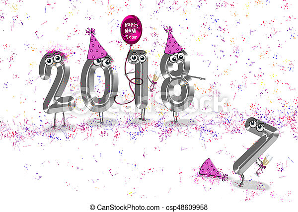 New year 2018 party humor. New year 2018 holiday humor with silver ...