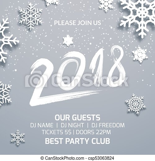 New year 2018 party poster invitation decoration design. dance disco ...