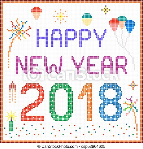 new year 2018 pixel message csp52964625