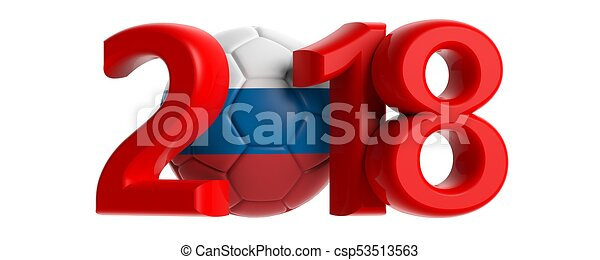 New year 2018 with Russia flag soccer football ball on white background. 3d illustration - csp53513563