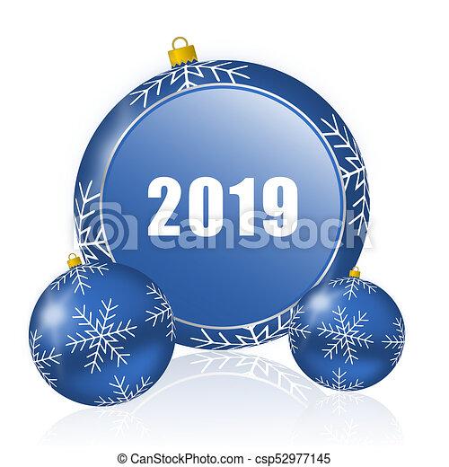 new year 2019 blue christmas balls icon csp52977145 - Blue Christmas Balls