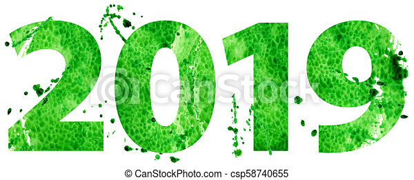 New year 2019 in green color new year 2019 watercolor - New year 2019 color ...