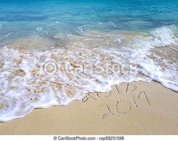 New year 2019 on seashore - csp58231596