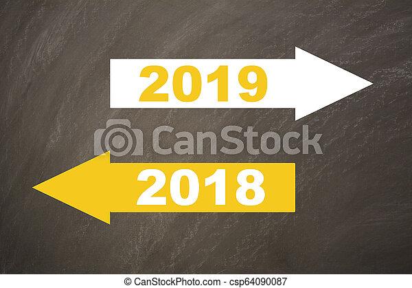 New year 2019 on the blackboard - csp64090087