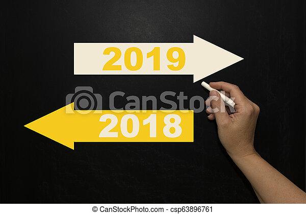 New year 2019 on the blackboard - csp63896761