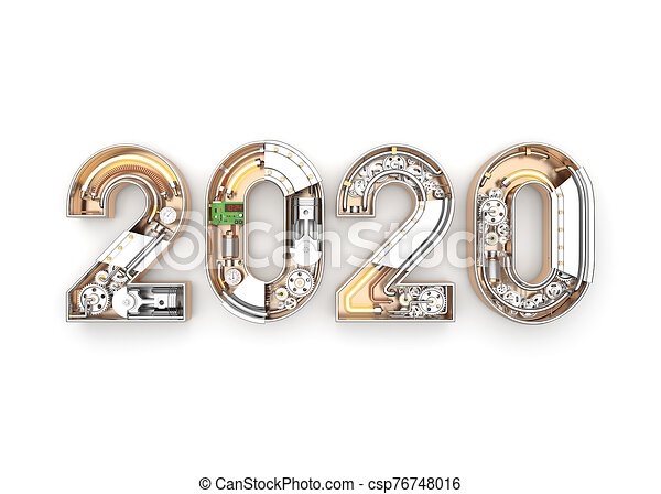 New year 2020 made from mechanical alphabet with gear - csp76748016