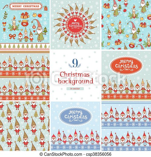 Christmas Backgrounds Cute.New Year And Christmas Backgrounds Set In Vector