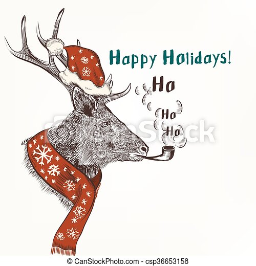 New year and christmas humor background with smoke deer in red scarf ...