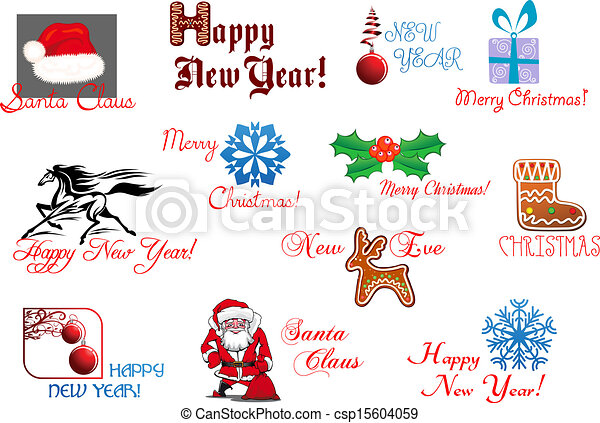 New Year And Christmas Symbols For Holiday Design Clipart Vector