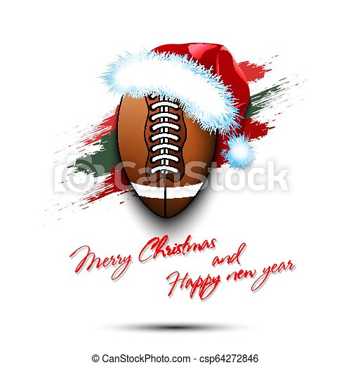 ec86129c1b0 Merry christmas and happy new year. new year and football ball in ...