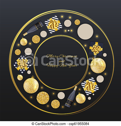 New Year and Merry Christmas Background. Vector Illustration - csp61955084