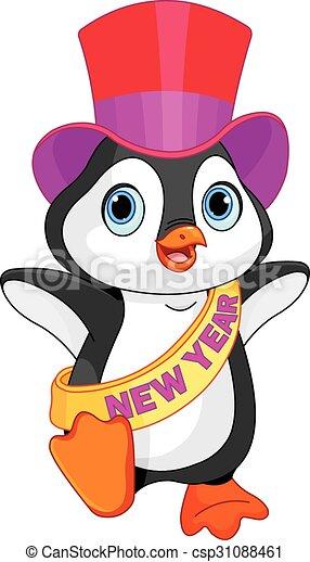 New Year baby penguin - csp31088461