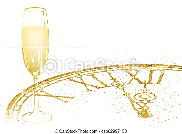 new year background with champagne and golden dial csp62997150