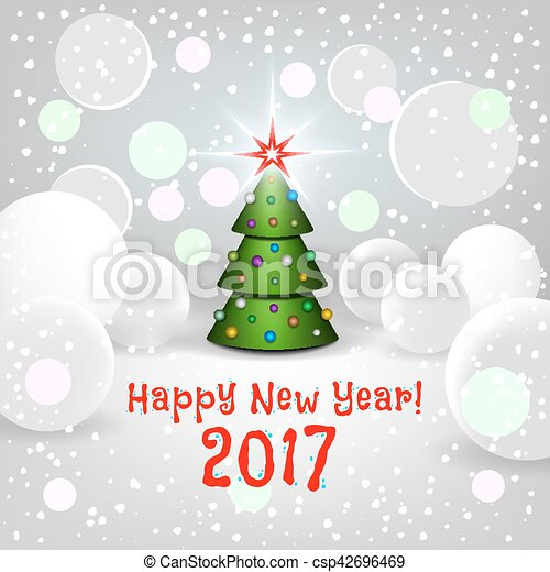 new year background with elegant cartoon christmas tree csp42696469
