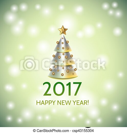 new year background with elegant christmas tree csp43155304