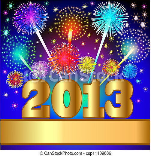 new year background with salute and gold(en) numeral - csp11109886