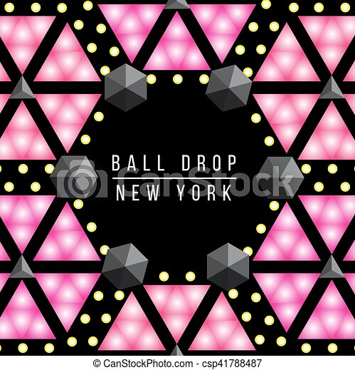 new year ball drop in times square new york vector decorative illustration set