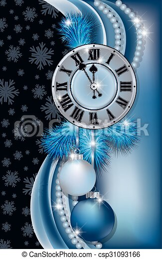 new year banner with clock csp31093166