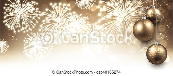 new year banner with fireworks csp40185274